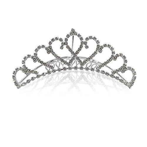 Katara 1738 Couronne Mini De Princesse, Avec Peigne, Diadème Nuptial Élégant Pour Mariée Ou Demoiselle D'Honneur