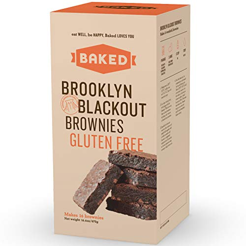 BAKED Brooklyn Blackout Brownie Gluten Free Mix with Dark Chocolate Chunks, Real Vanilla, Dark & Black Cocoa Powder. Makes 16 Brownies. (Pack of 1)