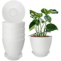 6-Pack Tetok 6.2 Inch Indoor Flower Plant Pots with Multiple Drainage Holes and Saucers for All House Garden Plants