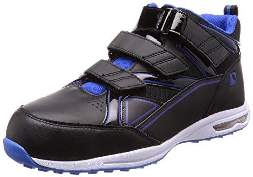 [シモン] プロスニーカー JSAA規格 耐滑 軽快 静電 短靴 スニーカー マジック 反射 エアースペシャル4018黒静電 黒/ブルー 29 cm 3E