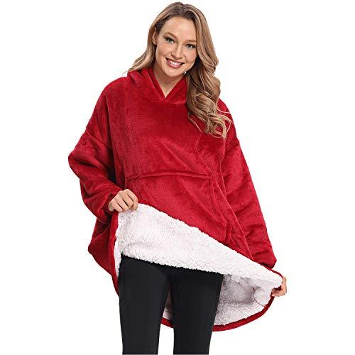 DURINM Mujer Sudadera Caliente y Esponjoso Tops Chaqueta Suéter Jersey Mujer Otoño Invierno Talla Grande Hoodie Sudadera Suelto Sólido Manga Larga (Rojo)