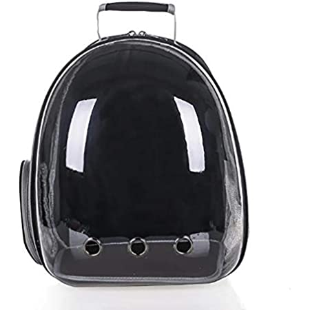 Petlicious & More Pet Transparent Cat Carrier Backpack Puppy Kitty Breathable Carriers for Travel Capsule Backpack (Black)