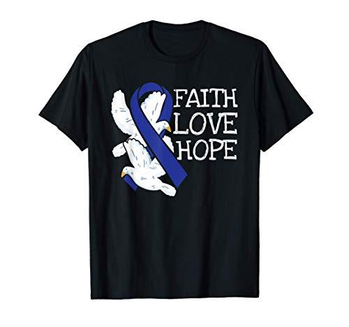 Faith Hope Love Prostate Colon Cancer Ribbon Awareness Gifts Camiseta