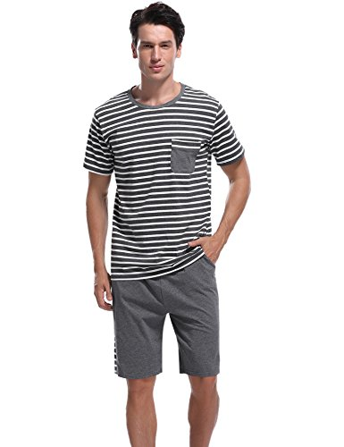 Aibrou Herren Sommer Baumwolle Kurzarm Pyjamas Set, Zweiteiliger Gestreifte Schlafanzug Short + Shirt mit Tasche Marineblau S