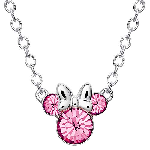 Disney Minnie Mouse Crystal Birthstone Silver Plated Pendant Necklace, October Fuchsia Crystal