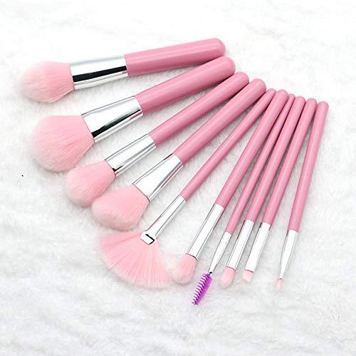 MEISINI Maquillage Pinceau Foundation Power Ombre À Paupières Contour Conceal Blush Cosmétique Maquillage Pinceaux Kits, 10Pcs Argent
