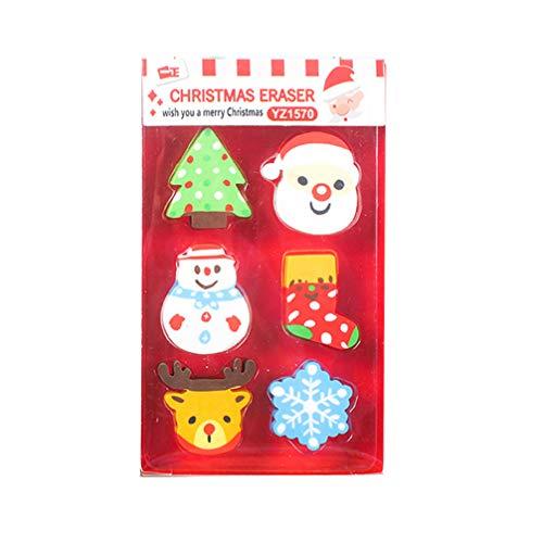 TOYANDONA 6 stück weihnachten cartoon radiergummi sammlung puzzle radiergummi bleistift topper kreative schreibwaren für kinder festliche weihnachtsgeschenk (zufällige muster)