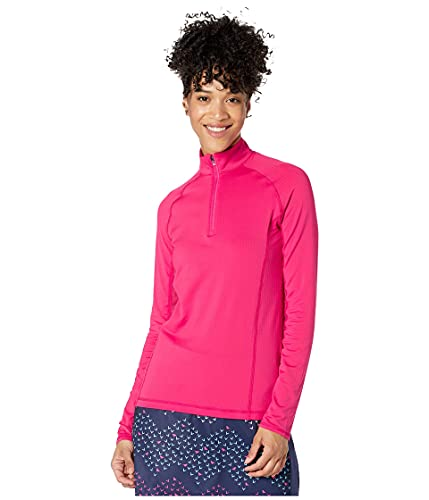 Callaway Langärmliges Damen-Golf-Oberteil, Damen, Golfhemd, Cooling Long Sleeve Mock Golf Polo, Raspberry Sorbet, Large