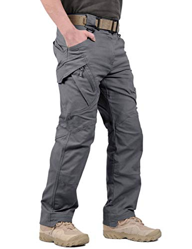 LABEYZON Men's Outdoor Work Military Tactical Pants Rip-Stop Cargo Pants Men (Grey L)