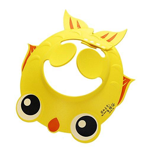 OUNONA Shampooing réglable pour bébé Douche Baignoire Protégez la goupille de protection Bouclier de cheveux Hatwith Protecteur d'oreille Plaques Goldfish Pattern (Jaune)