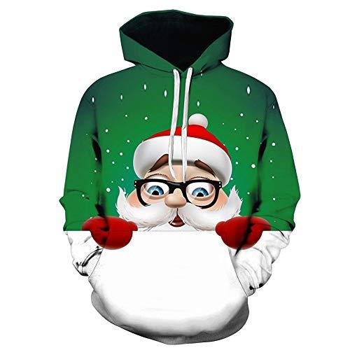 Roiper Homme Sweat Imprimé Col Rond Noël Sweatshirt Full Print Pere Deco Renne Arbre Noel Motif Shirt Pull Christmas Sweat-Shirt