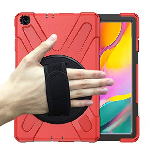Case for Samsung Galaxy Tab A 10.1 inch 2019 (Model:SM-T510/T515), Heavy Duty Shockproof Smart Case with [360 Rotatable Stand] [Hand/Shoulder Strap ] Drop Protection Case,Red