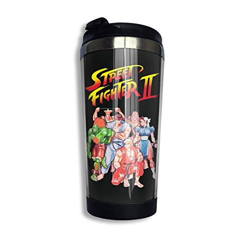 Trushop Taza de café Street Fighter II Video Game Inspired Coffee Cup Stainless Steel Water Bottle Cup Travel Mug Coffee Tumbler with Spill Proof Lid Graphic Travel Mug 400ml/14 oz