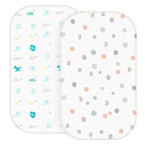 Bassinet Sheet - 2 Pack - Bassinet Mattress Pad Cover - 100% Cotton, Rectangle and Oval Baby Bassinet Fitted Sheets (Cars & Animals)