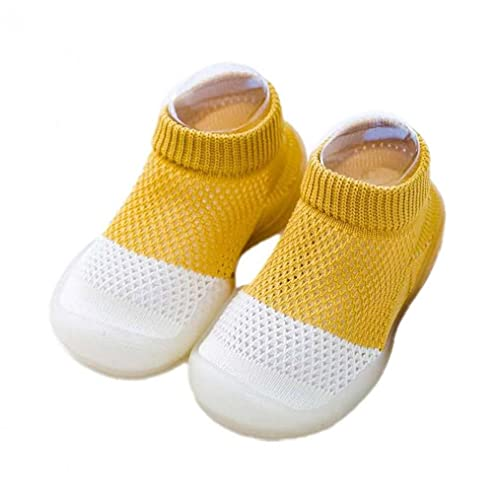 NIDONE Zapatos de bebé de los Deslizadores Calcetines Acogedor Malla Transpirable Antideslizante Soles Primero Que Caminan Calcetines para bebés 3-36M Amarillo