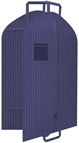 Navy Suit Garment Travel Bags -ID Tag Window, Durable Heavy Duty, Lightweight