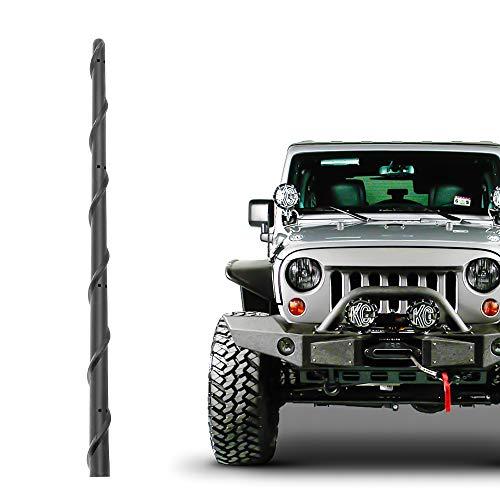KSaAuto Short Antenna Fits for Jeep Wrangler JK JKU JL JLU Rubicon Sahara Gladiator 2007-2021   13 Inch Flexible Rubber Antenna Replacement   Spiral New Designed for Optimized Radio Signal Reception