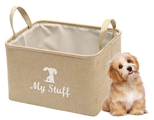 Pethiy Segeltuch Aufbewahrungskorb für Hunden/Katzenspielzeug, Hundendecke, Aufbewahrung für Hundenbekleidung, 30 cm x 20 cm x 20 cm, Beige-S