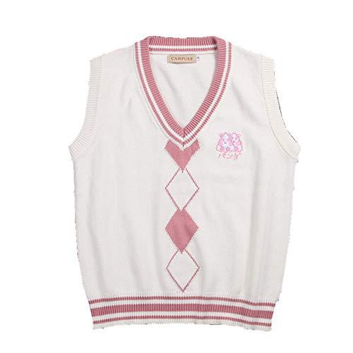 WOOKIT Chaleco de Punto Unisex Chalecos de Tirantes sin Mangas Lindo Uniforme Escolar con Cuello de Pico Suéter Tejido-Rosa-M