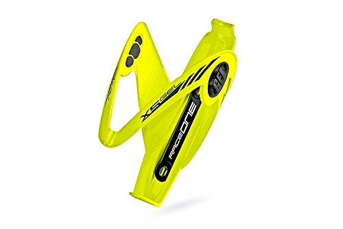 RaceOne.it - Portaborraccia Mod. X5 Gel Porta Borraccia per bicicletta ideale per Bici Race / MTB / Gravel / Trekking Bike. Inserto in GEL Antivibrazioni, ideale per Off-Road. Finitura LUCIDA. Colore GIALLO Fluo. 100% MADE IN ITALY