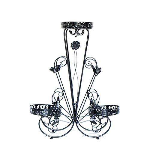 Support de fleurs européen en fer forgé plancher multicouche balcon support de pot de fleurs moderne minimaliste créatif stand de fleurs intérieure et extérieure (Couleur : NOIR, taille : L)