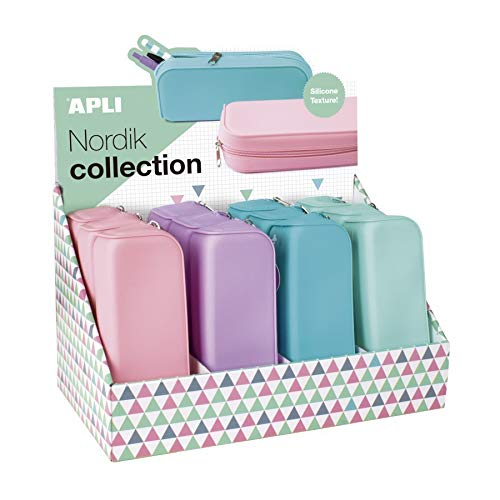 Estuche portatodo apli silicona - tonos pastel (violeta, rosa o turquesa)