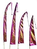 DEKOVALENZ Drachenfahnen-Stoff Gold Dragon  mit herzförmiger Spitze   Umbul Asien-Fahnen   Fahnenlänge: 5 Meter   Farbe: Purpur