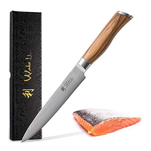 Wakoli Damastmesser Fleischmesser, Klinge 17,00 cm Länge - sehr hochwertiges sehr scharfes Profi Fleischmesser mit Damastklinge und Olivenholzgriff, Küchenmesser, Kochmesser