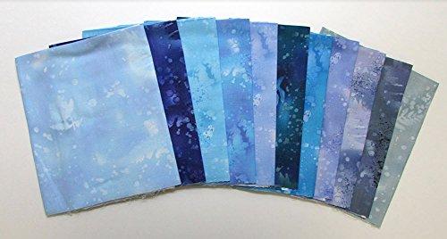 Fossil Fern Blues 11 pc Cotton Fabric Quilting FQs Assortment by Benartex Studio