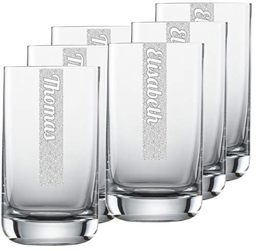 Miriquidi - Set di 6 bicchieri per acqua con incisione, 255 ml Schott Zwiesel Convention n. 12, lavabili in lavastoviglie, con incisione laser personalizzata