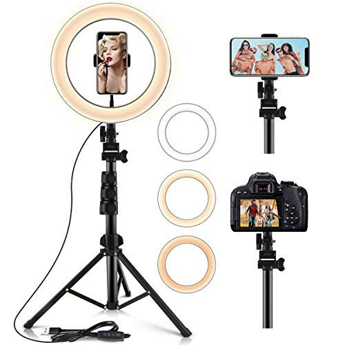 Ring Light,10.2' Selfie Light Ring with Stand (16.56' to 54') & Phone Holder,3 Light Modes &10 Brightness,LED Selfie Ring Light for YouTube/TIK Tok/Live Stream/Make up,Remote Control for iOS/Android