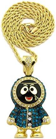 BLINGFACTORY ICED Brick Squad Eskimo Man Pendant 24 Rope Chain Hip HOP Necklace product image
