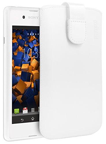 mumbi Echt Ledertasche kompatibel mit Sony Xperia E3 Hülle Leder Tasche Hülle Wallet, Weiss