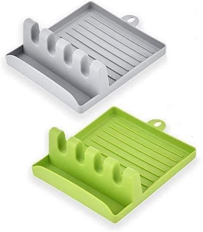 2 x Küchenutensilienablage, Löffelablage für mehrere Utensilien, Utensilienablage mit Abtropfpolster, hitzewiderstandsfähige Küchenspachtel, Ablage für Löffel, Schöpflöffel, Zange (grün)