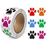 Paw Prints Stickers (1 Inch/ 500 Stickers) Dog Stickers Paw Prints Stickers,Colorful Self-Adhesive Labels Animal Shape Wall Decal,Paw Stickers Roll for Kids,Parties, Vets, Kennels and Mailing