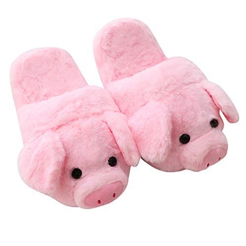 Roze Piggy Pluche Pantoffels Indoor Vloerschoenen Meisjes Dames Gevulde Varken Tekenfilm Dieren Winter Warm Anti-slip Piggy pantoffels Inner sole 23.5cm,China
