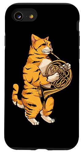 iPhone SE (2020) / 7 / 8 Funny Cat Playing French Horn | Cool Animal Musician Gift Case