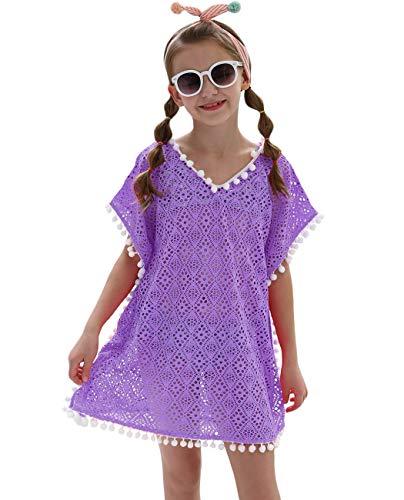 iDrawl Cover Up Pareos Sommer Violett Strand Tunika für Mädchen One Size Bademode für 7-13 Jahre Alte