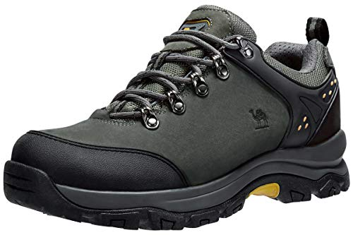 CAMEL CROWN Men's Hiking Shoes Low Top Trekking Boots Non-Slip Walking Sneakers for Outdoor Work Trail Casual(Grey,8)