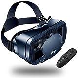 Casque de réalité virtuelle 3D avec télécommande, lunettes de réalité virtuelle, lunettes de réalité virtuelle, lunettes de réalité virtuelle – Compatible avec iph X 7/7+/6s/6 +/6/5, Samsung Galaxy, Huawei, Google, Moto et tous les smartphones Android 5,0-17,8 cm et système de soin des yeux réglable (Noir)