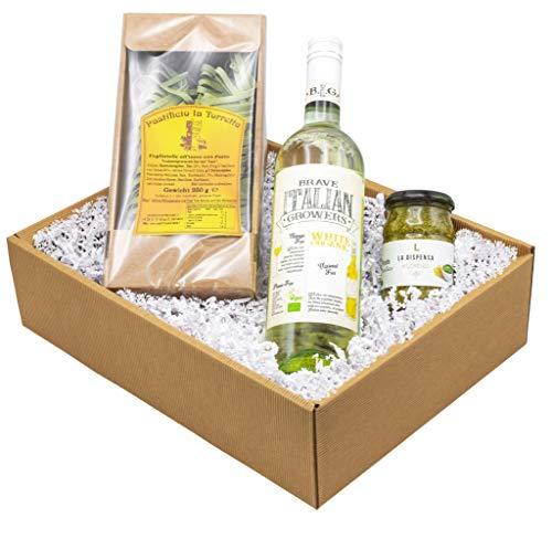 """Weinpräsent Präsentkorb """"Pesto e Vino"""" mit italienischen Spezialitäten: Italienischer Feinkost und Weißwein (1 x 0,75 l, 13,5% vol.) NV trocken (1 x 0.75 l)"""