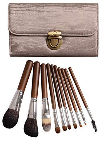 JoinBuy.R Lot de 10 pinceaux de maquillage professionnels synthétiques Kabuki Visage Blush Lèvres Fard à paupières Manche en bois