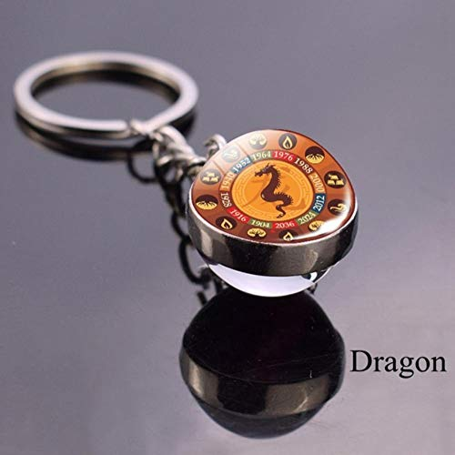 keyjiang Animal Llavero Dragon Glass Ball Llavero Amuleto Zodiaco Llav
