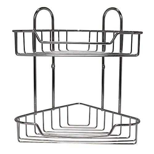 e-Best Estantería esquinera para ducha (metal cromado, 2 estantes)
