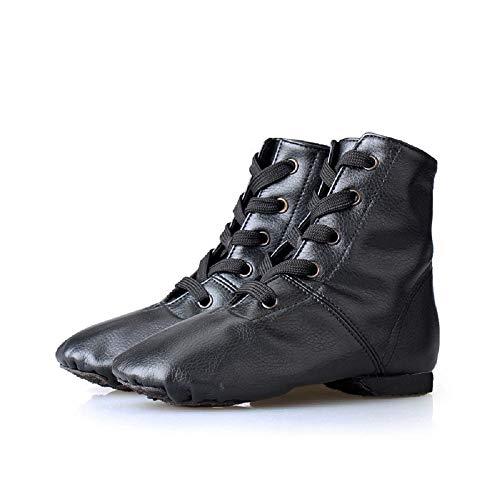 Ruanyi Leder High-top Jazz Stiefel, Tanzschuhe Professionelle Weiche Unterseite Moderne Tanzschuhe Verschleißfeste Schuhe Für Frauen Mädchen (Color : Black-PU, Size : 38)