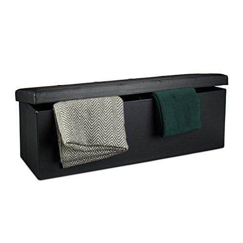Relaxdays Faltbare Sitzbank HxBxT 38 x 114 x 38 cm, XL Kunstleder Sitztruhe, Aufbewahrungsbox mit viel Stauraum, schwarz