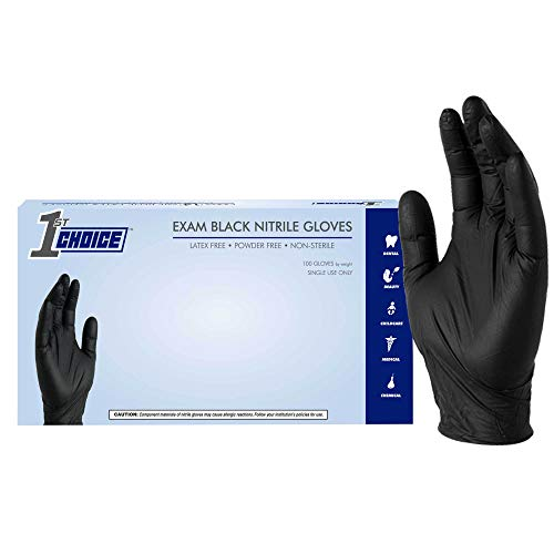 1st Choice Black Nitrile Exam Gloves, Box of 100, 3 Mil, Size Large, Latex Free, Powder Free, Textured, Disposable, Non-Sterile, Food-Safe, 1EBNLBX