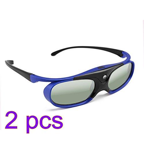Winbang Occhiali 3D, DLP Active Shutter Occhiali 3D 96-144Hz per Optoma BenQ Acer Viewsonic XGIMI Proiettore 3DTV, Batteria 3.7V 80mAH Universale (2pcs)