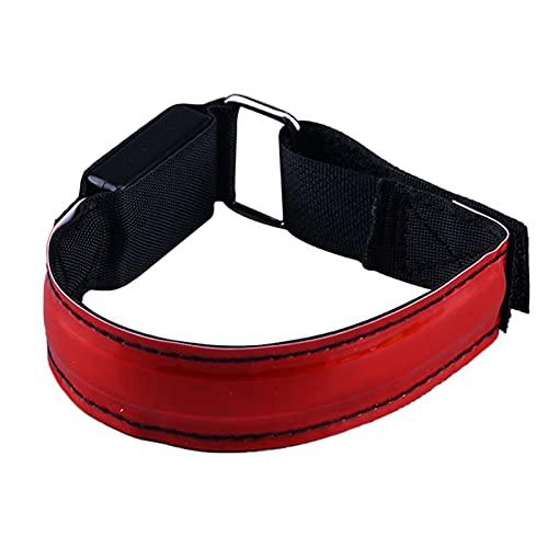 LED-Armband Reflektierendes Reflektorband Handschlaufe Leuchtarmband Verstellbares Lauflicht LED-Laufsicherheitslicht Reflektor Armband zum Joggen Laufen Radfahren Gehen (Rot)