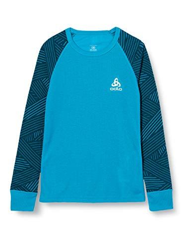 Odlo Kinder Unterhemd BL TOP Crew neck l/S Active Warm Trend Kids, Tumultuous Sea - Graphic FW20, 140, 150519